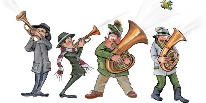 Zeichnung von vier Neujahrsanblösern mit Trompeten, Tuba, Horn