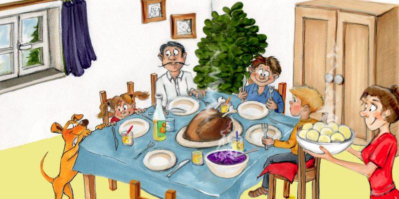Zeichnung einer Familie am Esstisch mit Gänsebraten
