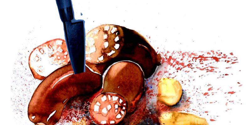 Zeichnung von Blunzengröstl aus Blutwurts und Kartoffeln