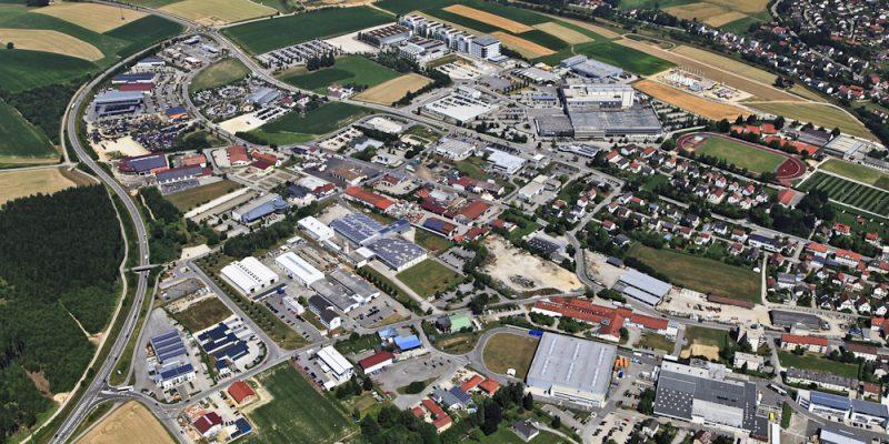 Luftbild vom Gewerbegebiet in Vilsbiburg