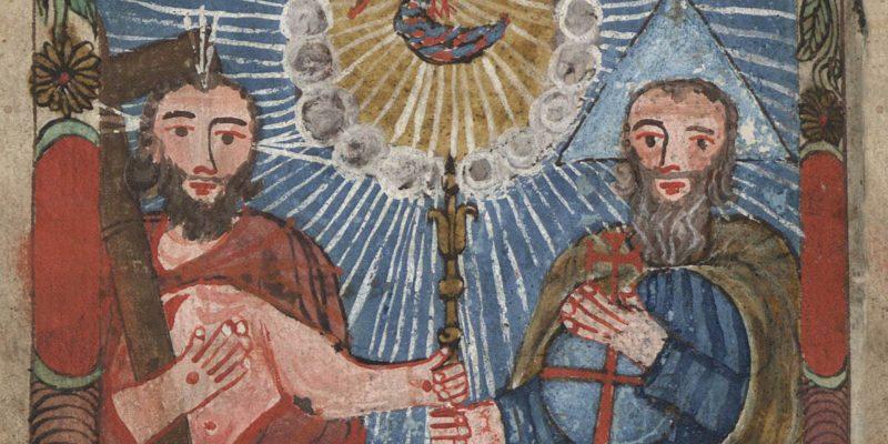Buchmalerei: Darstellung der Dreifaltigkeit