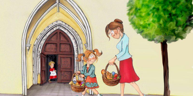 Zeichnung: Mutter und Tochter gehen mit Osterkorb zur Kirche