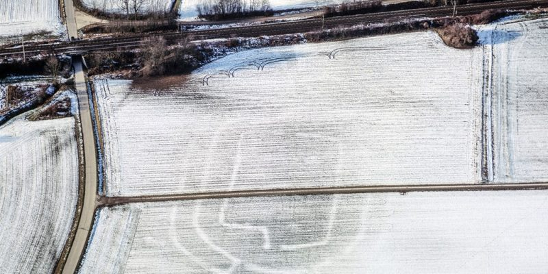 Luftaufnahme des Erdwerks bei Altheim