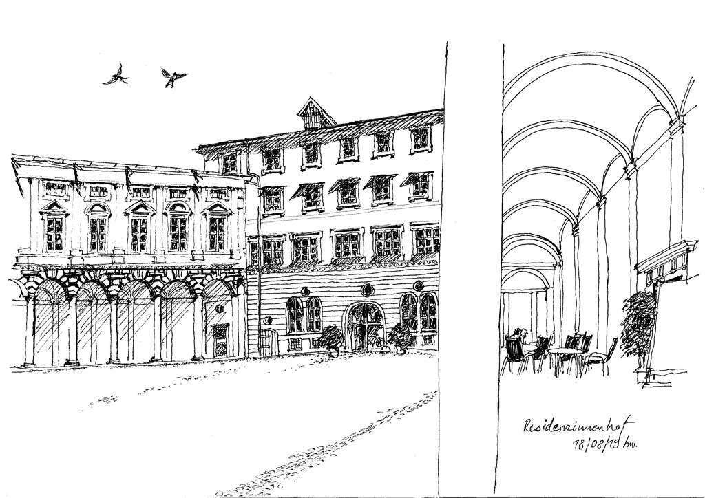 Zeichnung Residenzinnenhof in Landshut